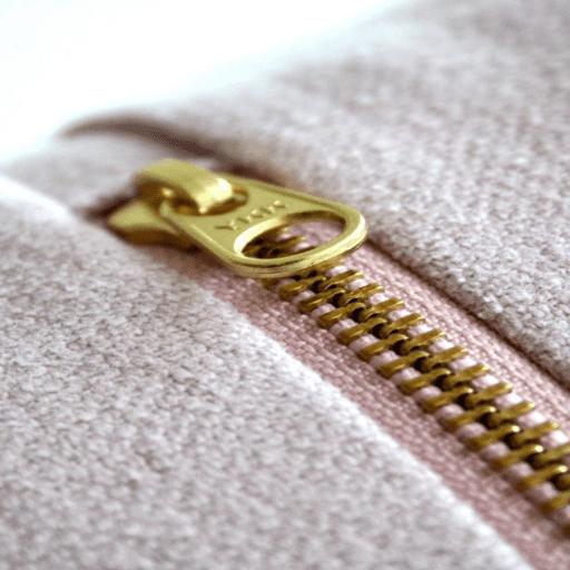 Close-up of zipper on a cotton sweatshirt