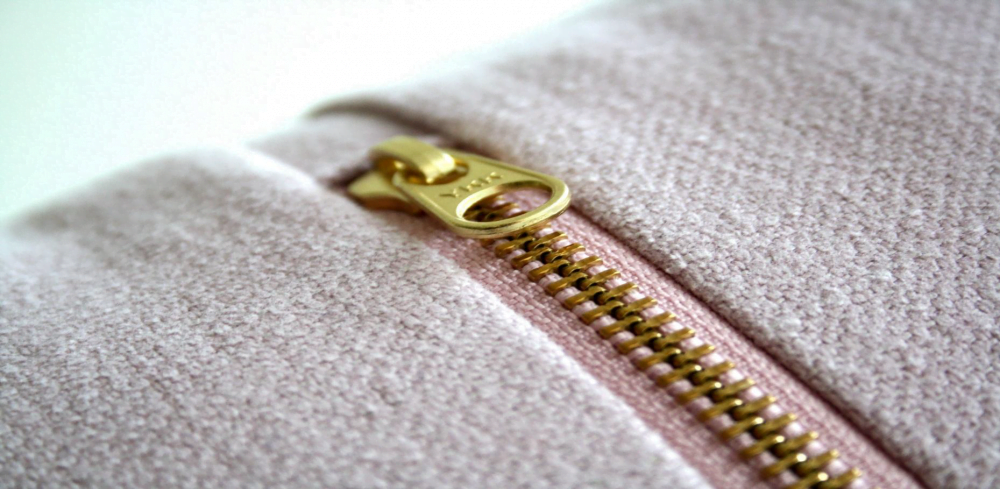 Close-up of zipper on a cotton sweatshirt