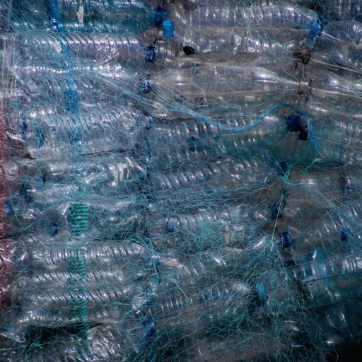 Dozens of plastic water bottles tied together