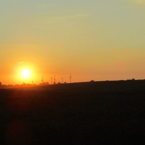 A Windfarm at Sunset