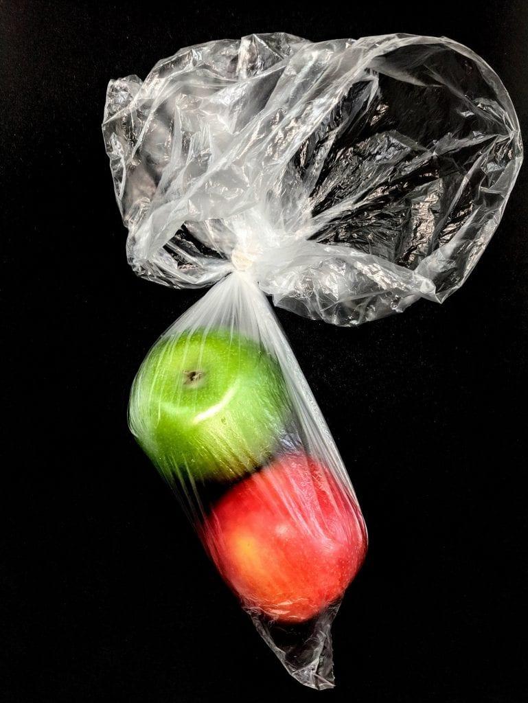 Apples in plastic bag