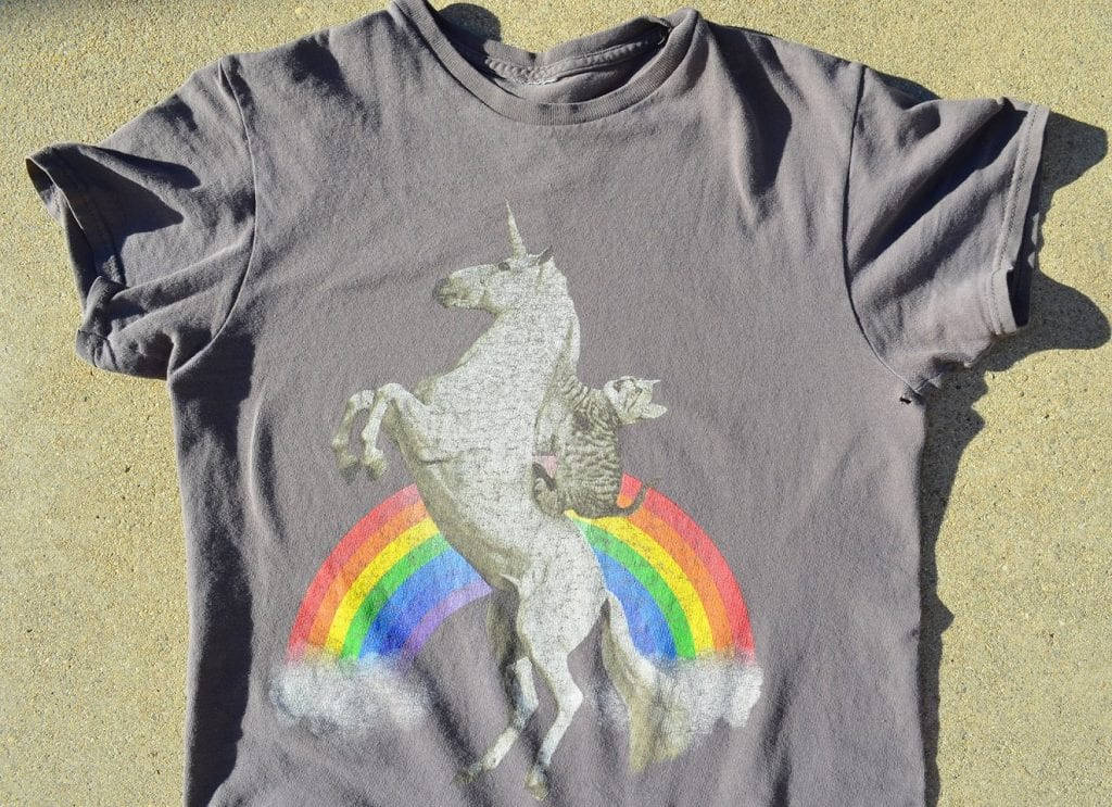 An old t-shirt, reusing clothing is a great way to lower your carbon footprint