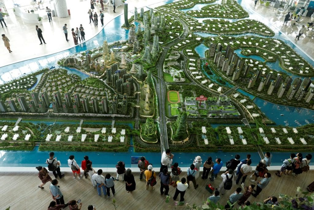 Scale model of city