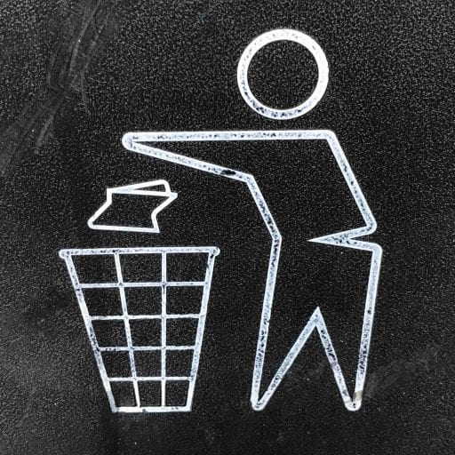 rubbish in bin, logo