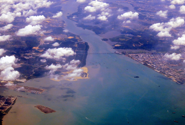 Land reclamation in the Strait of Johor, seen from far above