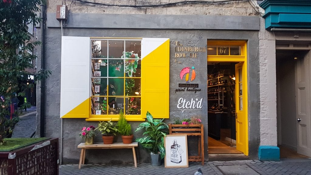 Etchd Shop with yellow door, Sustainable Edinburgh Guide