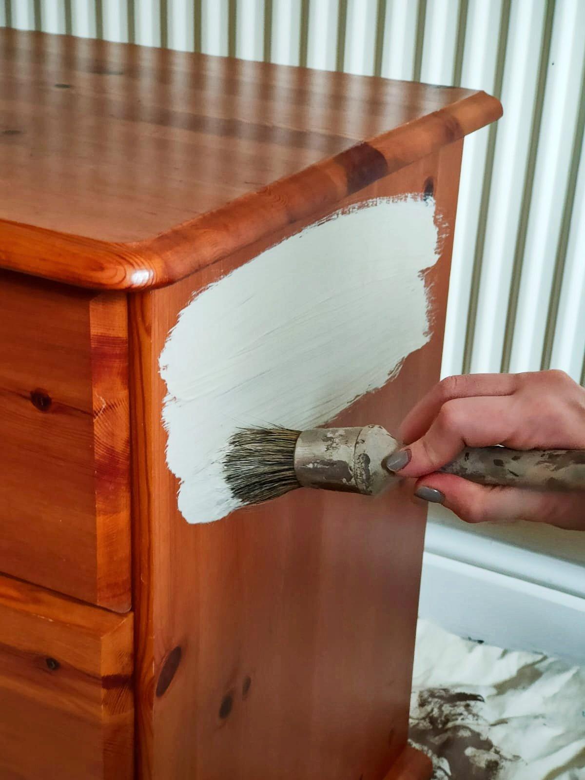 Paint brush begins on drawers