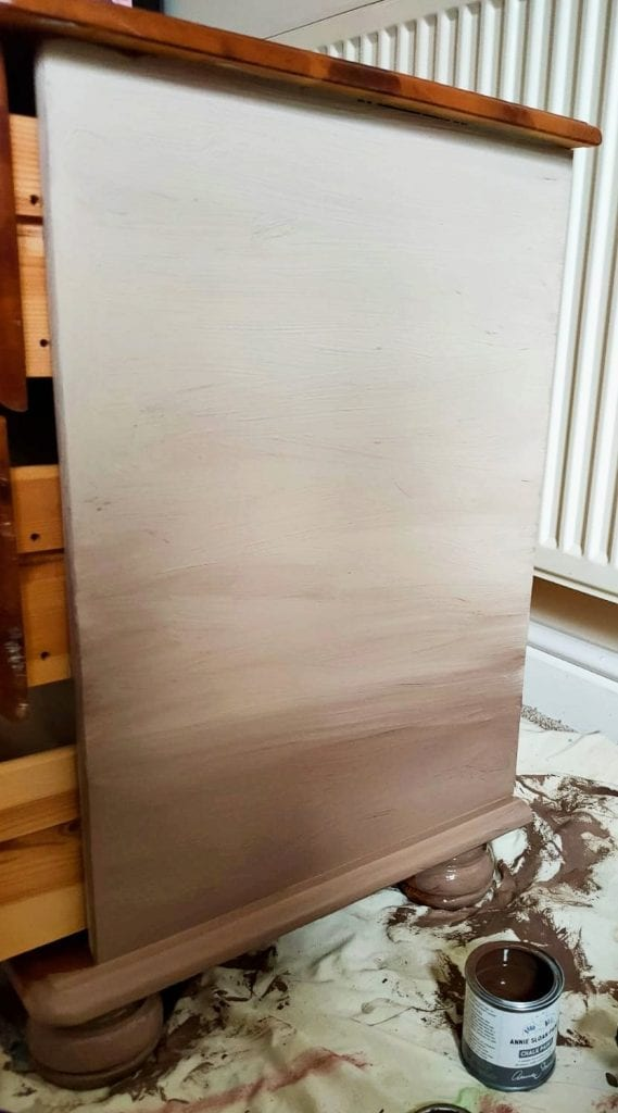 Chest of drawers, brown with base layer of paint