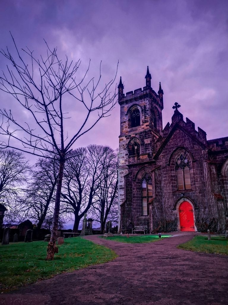 Old Church with red door, Sustainable Edinburgh Guide