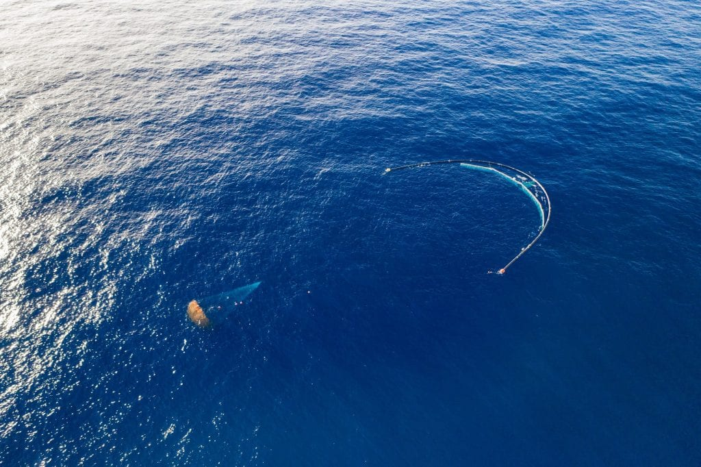 A gigantic crescent-shaped apparatus in the ocean