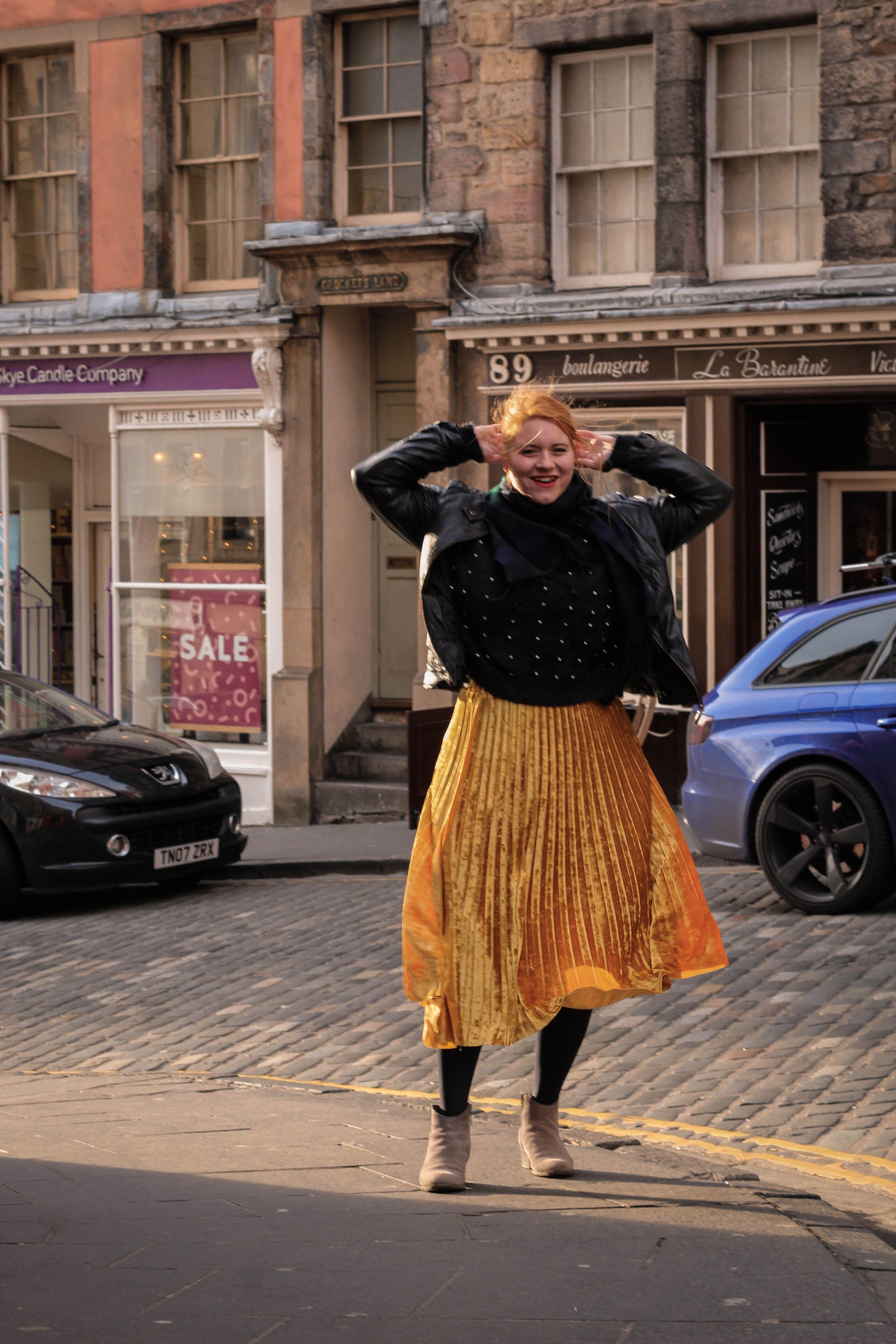 Jenni on Victoria Street, author of the Sustainable Edinburgh Guide