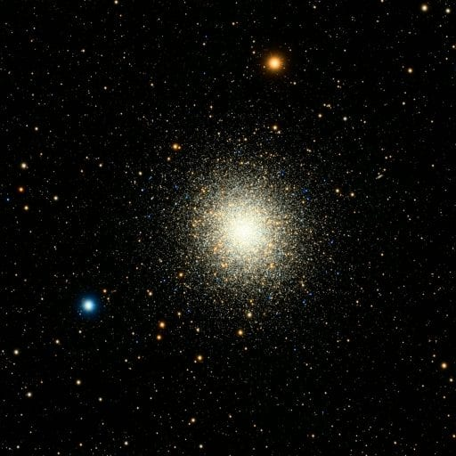 Deep space image with globular cluster at center and other stars and galaxies around