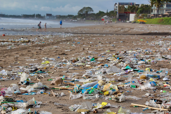A rubbish strewn beach, symbolic of Plastic Waste in Indonesia