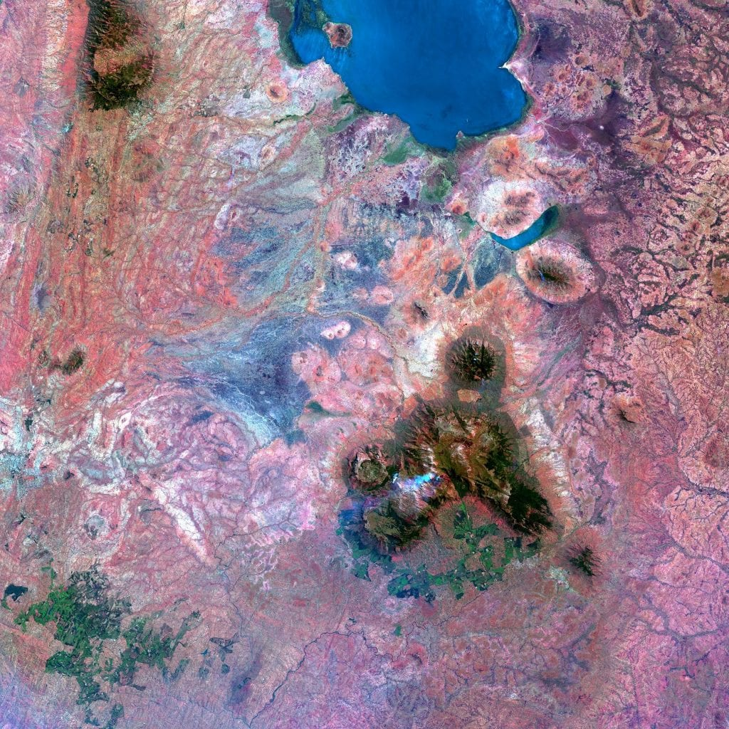 Aeriel view of Malawian landscape with vivid purples and blues