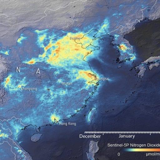 NO2 over China, satellite view