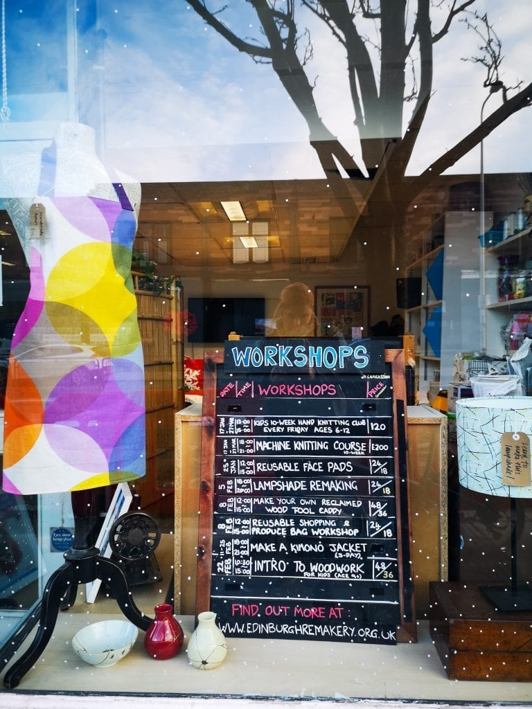 Sign in window describing workshops, sustainable fashion in Edinburgh