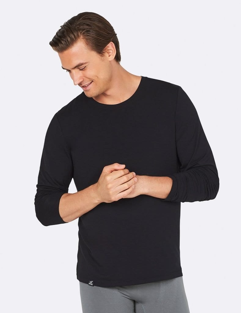 Man wearing black long sleeved tee by Boody sustainable activewear