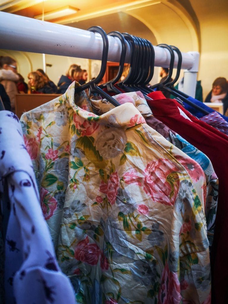 Vintage clothes on rack, sustainable fashion in Edinburgh