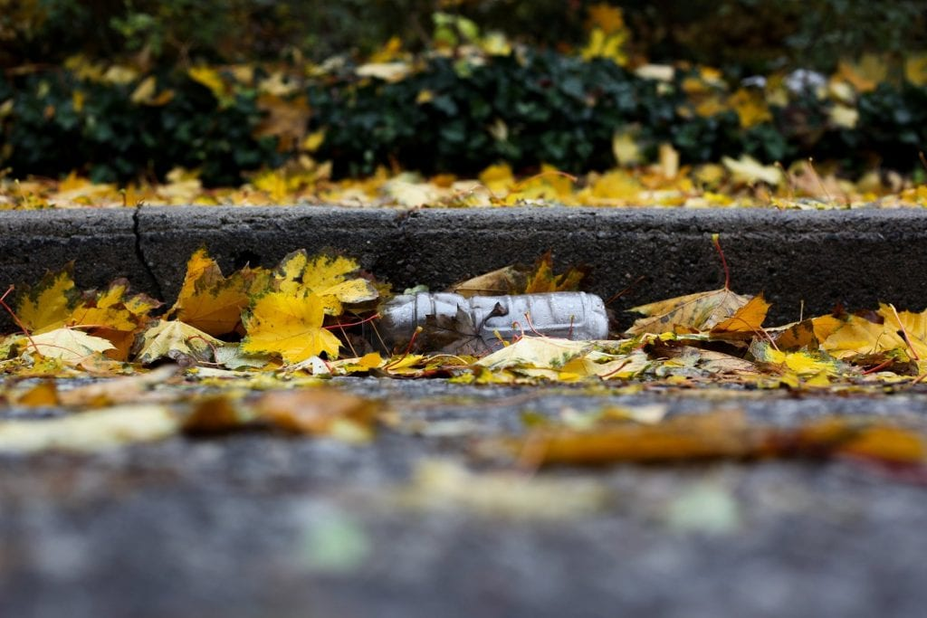 Bottled water in the gutter under leaves