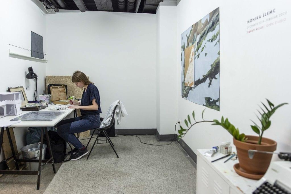 Female artist at work