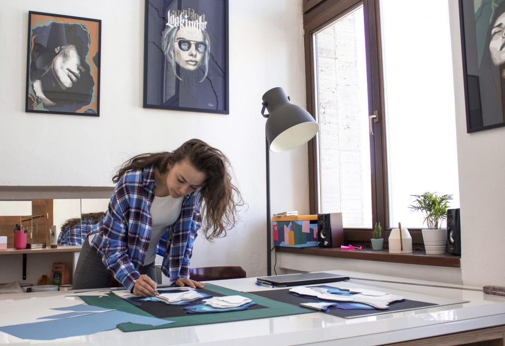 Female artist at work: a believer in sustainable art