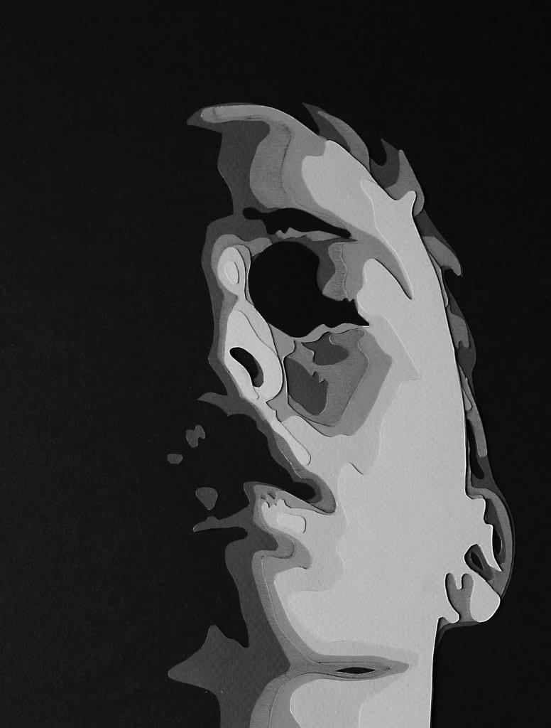 art piece of human face