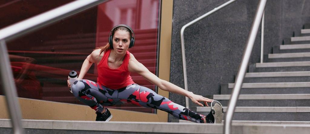 Woman exercising in sports legging