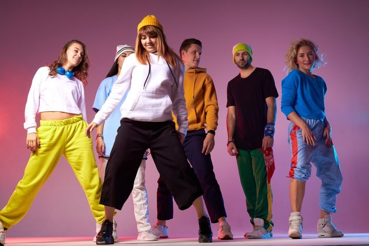 Youths wearing sustainable athleisure