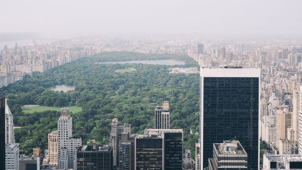 central park New York from above, a huge public space