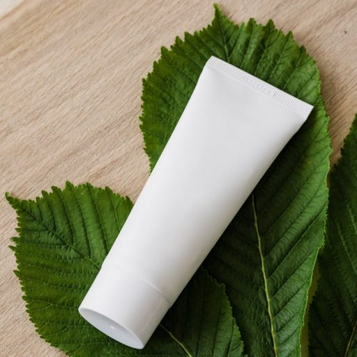 blank cosmetic tube on fresh chestnut leaf