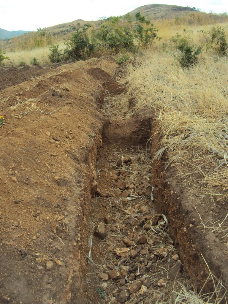 Malawi Water Crisis: Empty trench dug in the ground
