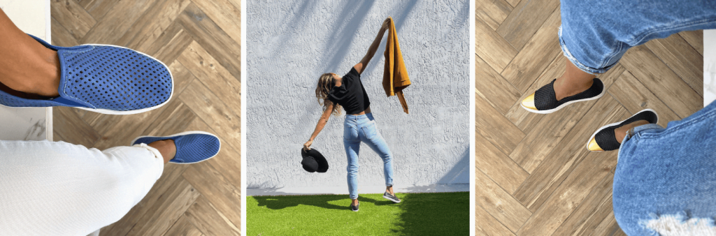 two images of recycled shoes, and one of a woman dancing on grass