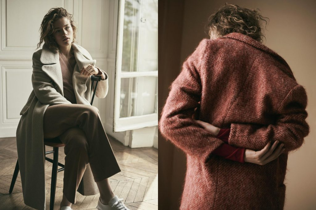 two women in heavy jackets, by Filippa K, a sustainable clothing brand
