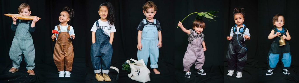 Kids in overalls by Over All, a sustainable kids' clothing brand