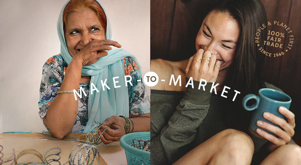 side by side photos of laughing women, one creating jewellery, the other wearing it