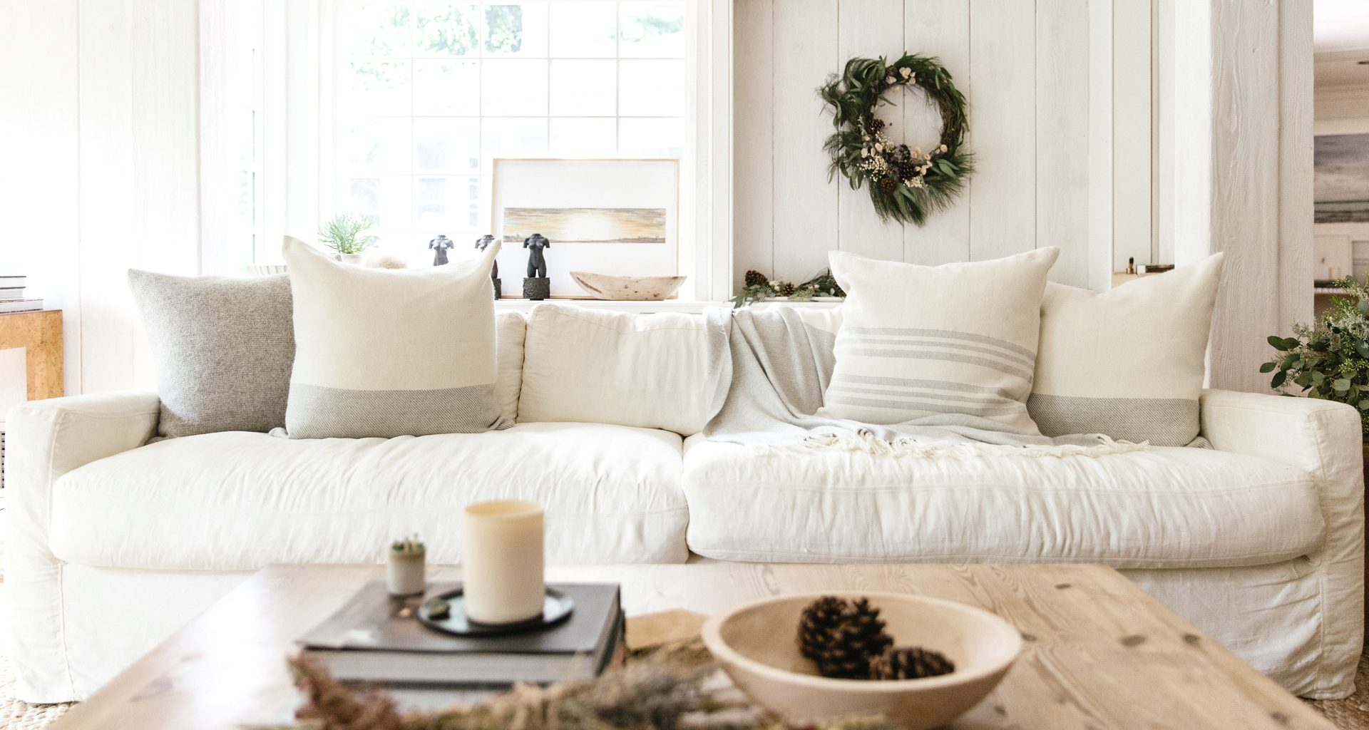 white couch in living room