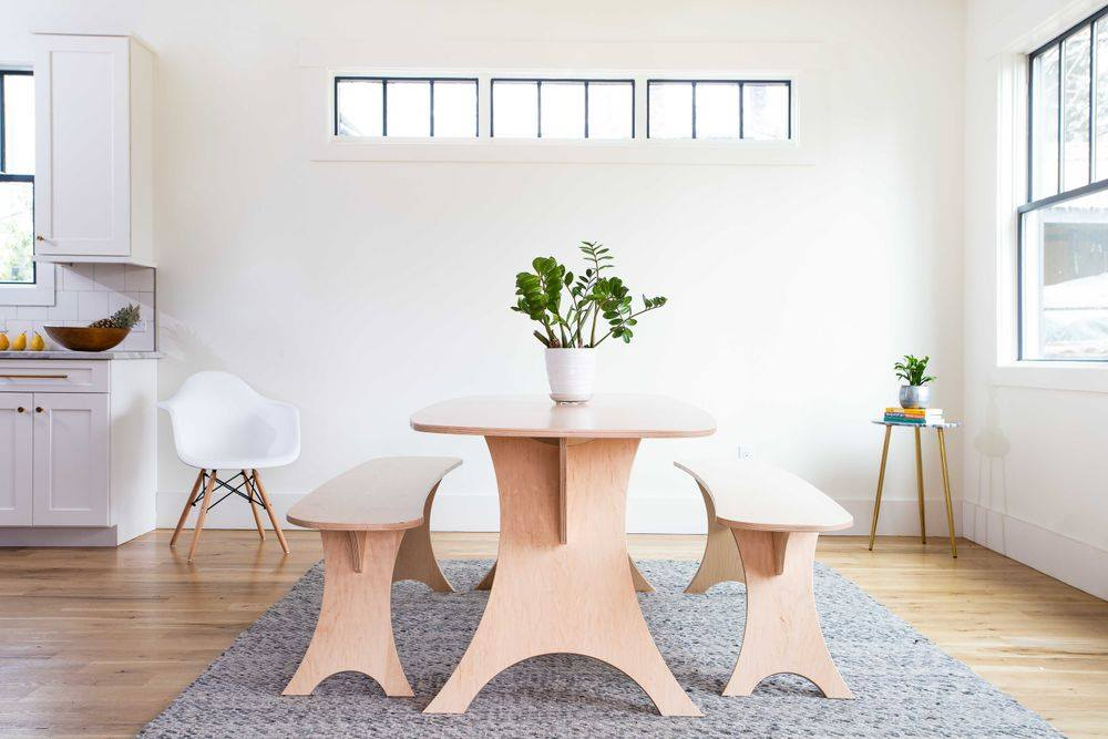 Wooden table, dining bench chair, and side table