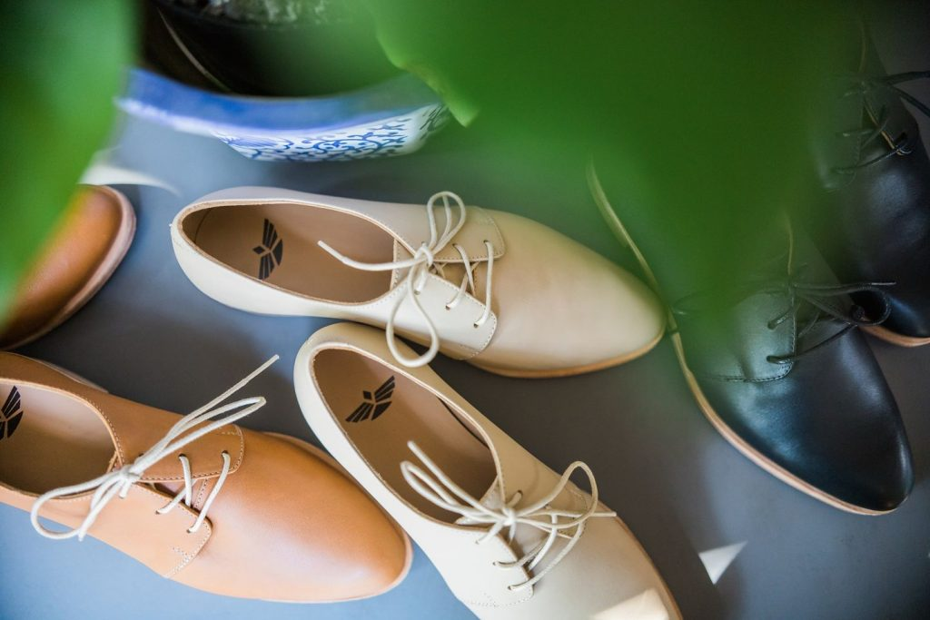 ethical shoes: Flats in cream, brown, and black