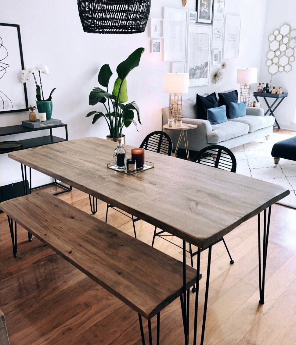 Sustainable furniture & home decor: wooden wire-frame dining table