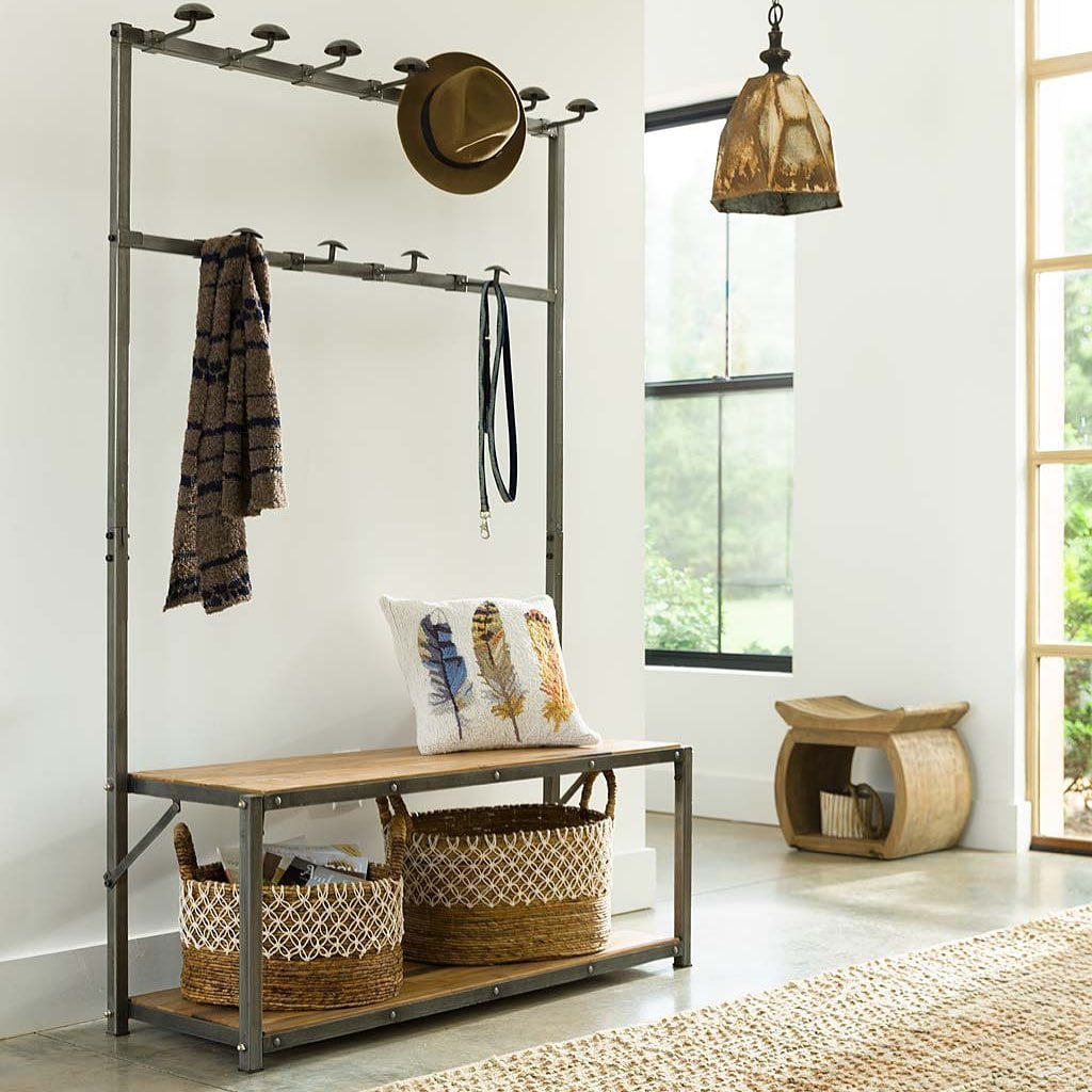 Sustainable furniture & home decor: coat rack made from metal and woof, with cushion and dog lead