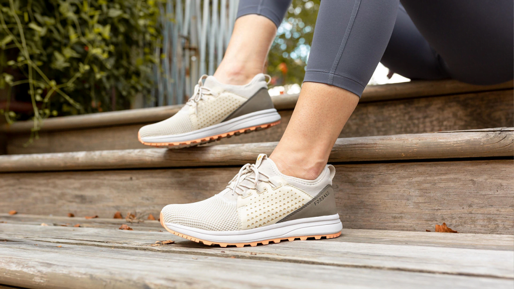 Sustainable sneakers: Lady's recycled running shoes, by United by Blue, an eco friendly shoes brand