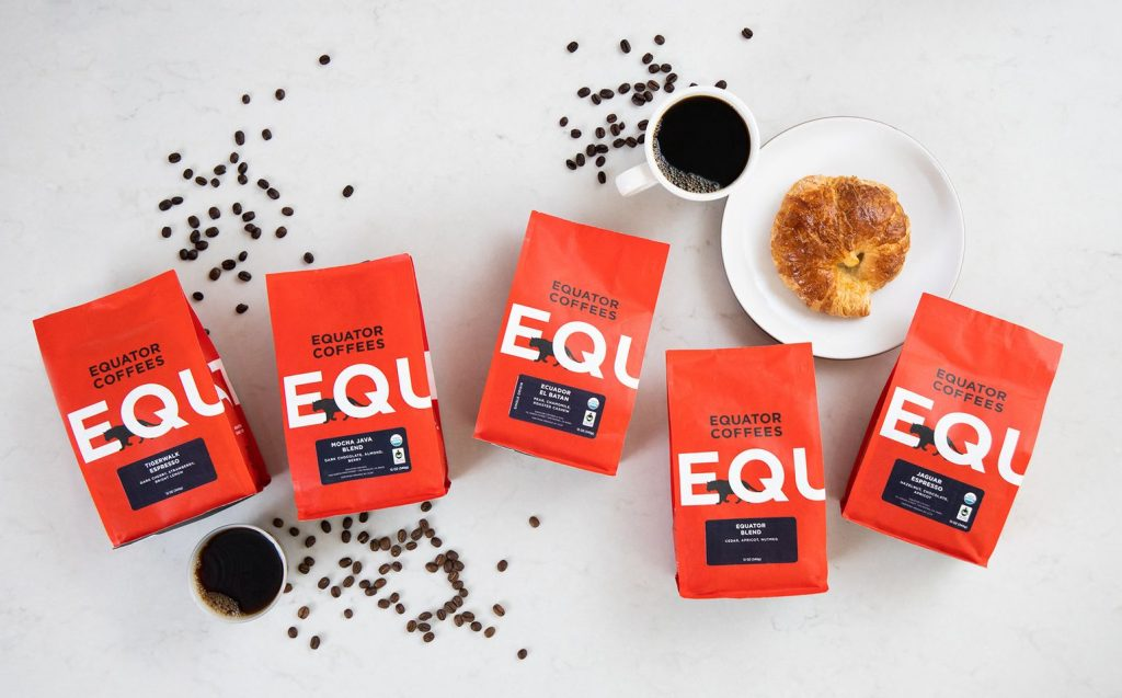 equator fair trade coffee bags, and croissant