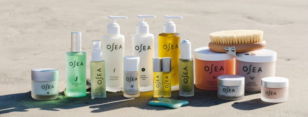 different coloured bottles by Osea, organic skin care
