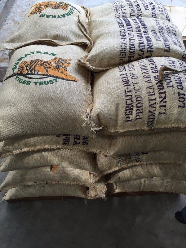 Sumatran Tiger Trust coffee bean bags