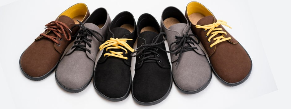 lineup of brown and grey vegan shoes