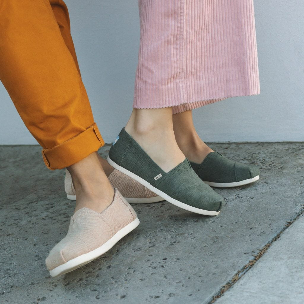 Toms vegan shoes, green and beige fabric shoes