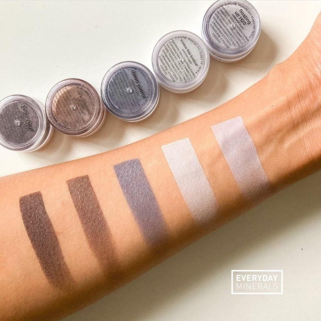 vegan makeup samples applied to arm