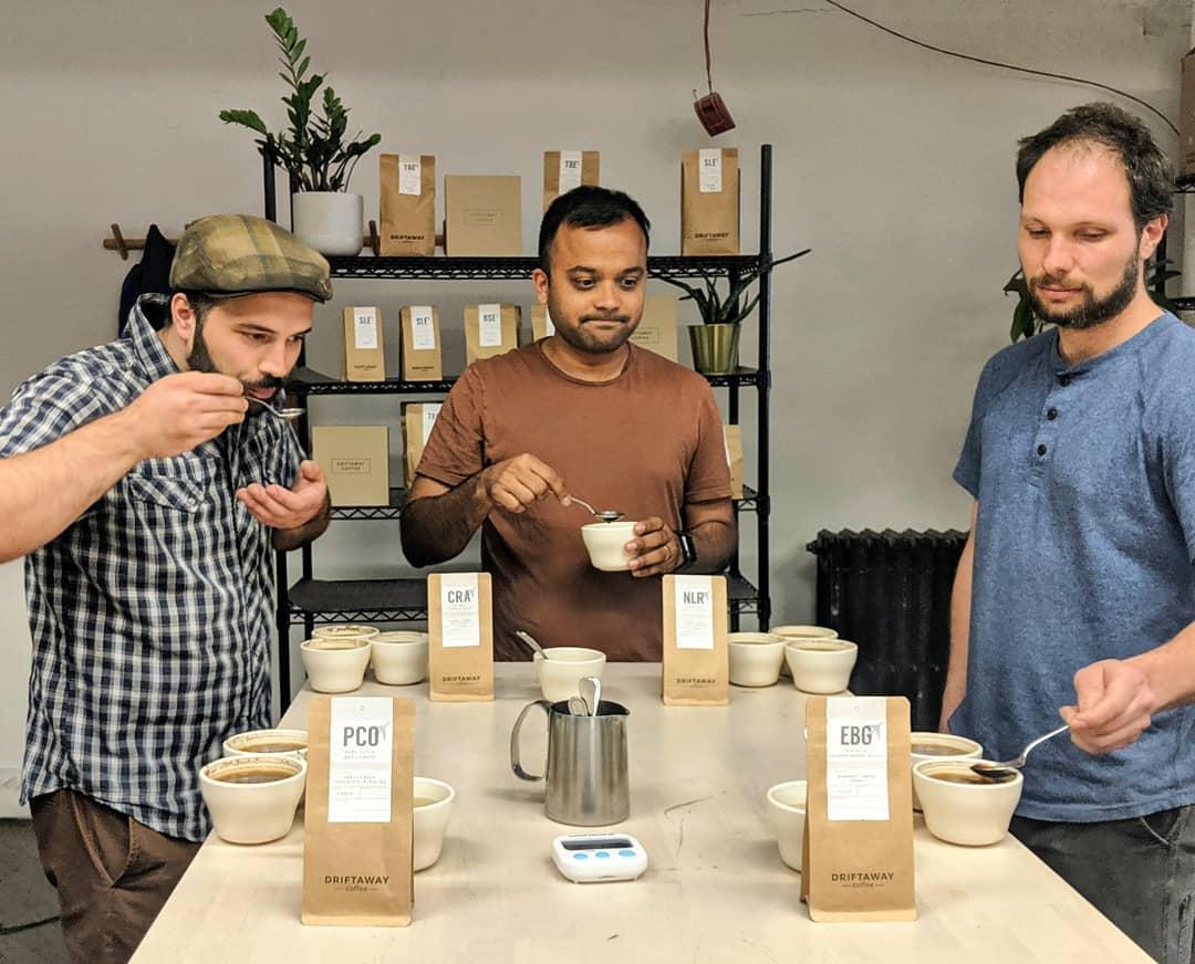people tasting fair trade coffee