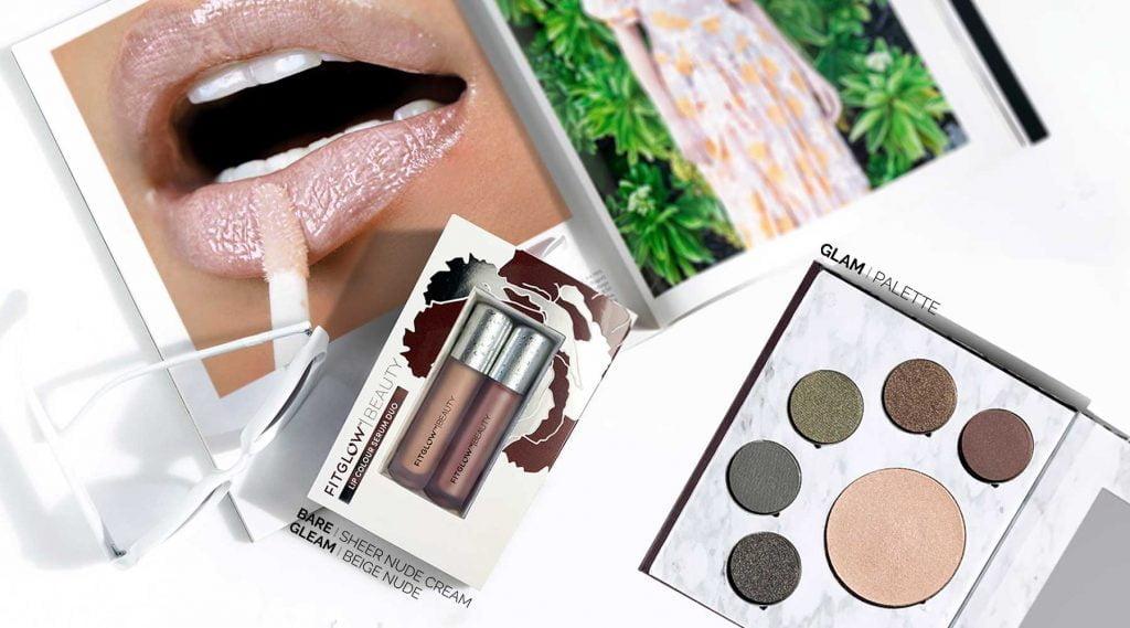 Makeup, woman applying lip gloss