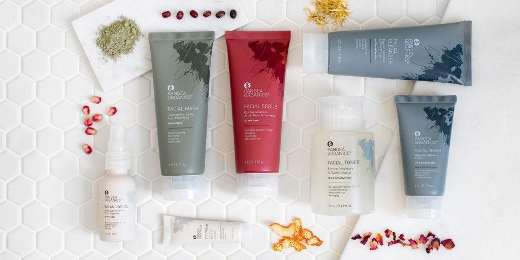 pangea product bottles, ethical skincare range